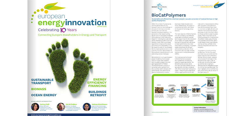 BioCatPolymers Project Article in the 2020 Spring Edition of the European Energy Innovation Magazine